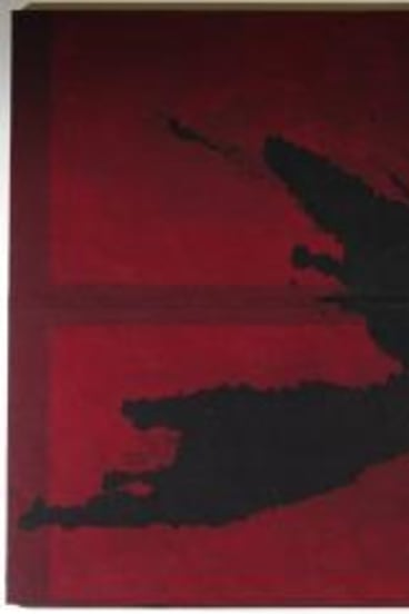 <i>3 Large Black Splashes on Red</i>