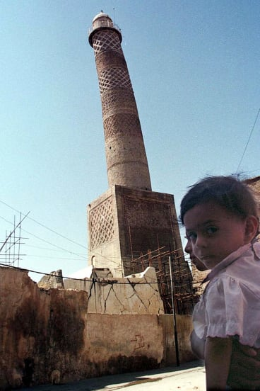 Tilting al-Hadba minaret in Mosul, Iraq, where townspeople defied Islamic State militants to protect the storied site.