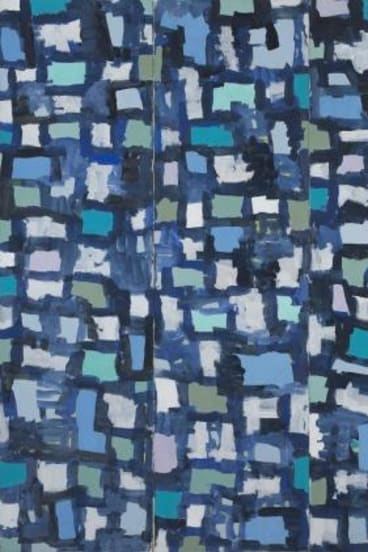 <i>Blue Note</i>, acrylic on canvas, 2004,  by Roy Jackson on display in Defiance Gallery.