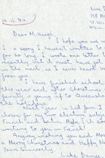 One of Davies' letters to Hergé.