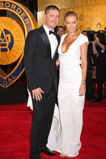 Red alert ... Michael Clarke and Lara Bingle at the Allan Border Medal.