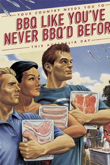 Props for chops ... Bold Palates dissects the history and importance of Australian cuisine, including the quintessentially Aussie barbecue, depicted in this 2010 advertisement for Australia Day. <em>Illustration: Mark Thomas/CIA</em>