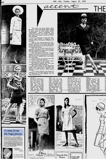 """A page from <i>The Age</i>, August 15, 1967, shows local fashions under the headline """"The Elegant Years""""."""