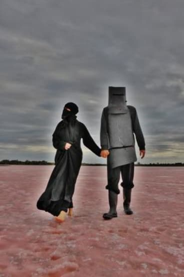 Detail of a work from Mars Drum's <i>Ned Kelly and Burka Woman</i> series, 2014.