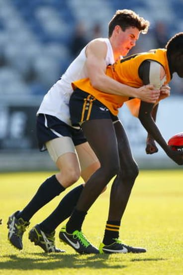 Dream move: Swans recruit Aliir Aliir caught the eye of his new club during an impressive season with East Fremantle and Western Australia's under-18s team.