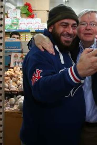 Selfie time! Prime Minister Kevin Rudd visited Abu Hussein mixed business in South Granville, western Sydney.