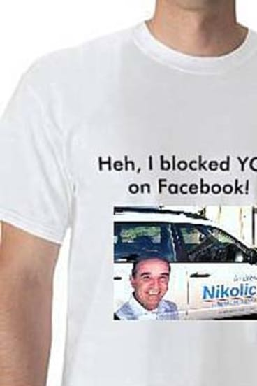 The T-shirts produced by the 'Andrew Nikolic blocked me' Facebook page.