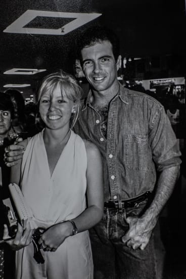 Reporter Megan Doherty and James Blundell in Tamworth in about 1992.