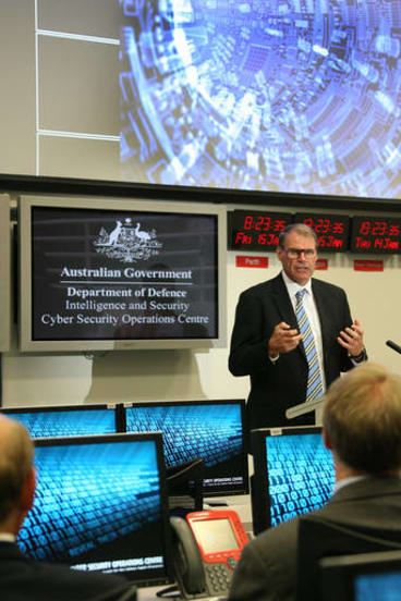 Former minister for Defence, John Faulkner at the opening of  Defence's new Cyber Security Operations Centre in Canberra.