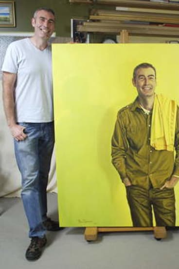 The former yellow Wiggles Greg Page with his portrait entered for the Archibald Prize by Canberra artist Ross Townsend, right, at Ross's studio at Gordon.