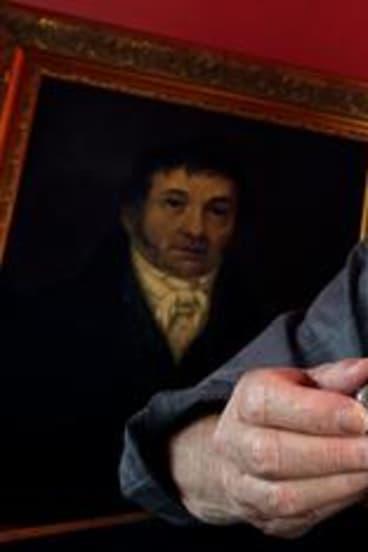 John Solomon and snuff box of Samuel Moss Solomon (in painting).