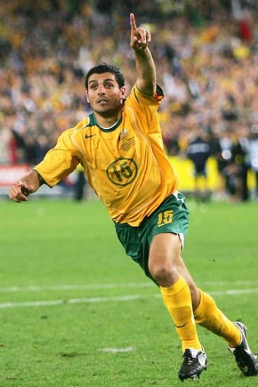 John Aloisi celebrates kicking the winning goal as Australia qualified for the 2006 World Cup by beating Uruguay.