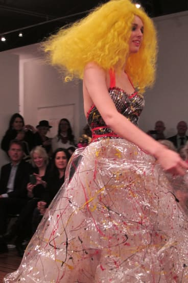 Jenny Bannister learnt to improvise, a creative alternative to compromise, and created dresses like this one, made of plastic covered in splattered paint.
