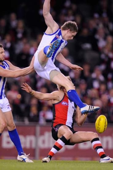 High-roller: The collision with Nick Riewoldt that cost Jack Ziebell three weeks.