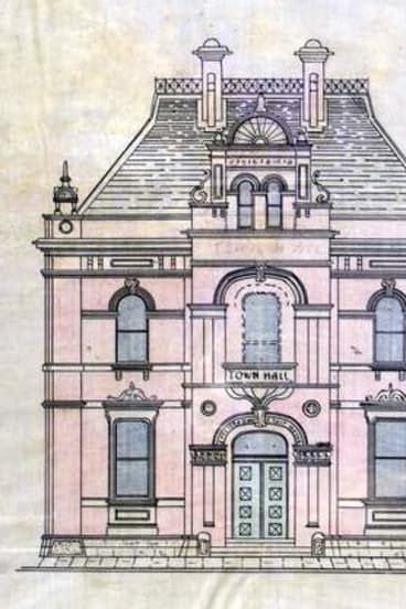 Edmund Cooper Manfred's drawing of the town hall.