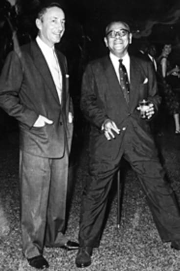 Tom Critchley at an Australia Day party in 1962 with Malaysia's prime minister, Tunku Abdul Rahman.