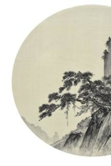 <i>Circular Fan III</i>, 2009-10, part of the <i>Cola Project – Antique Series</i>, ink and Coca-Cola on silk, by He Xiangyu,? is an imitation of a Song dynasty landscape.