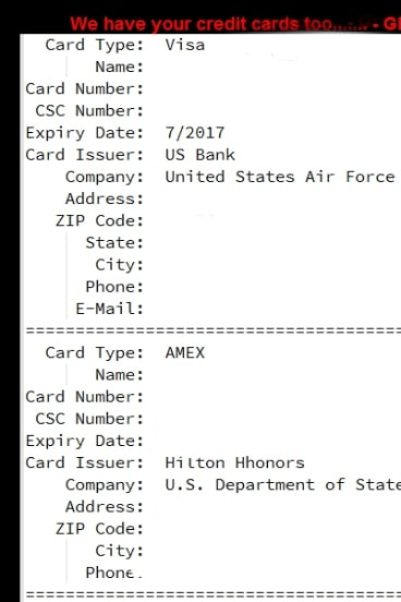 Islamic State's proof of credit card details (deleted by Fairfax Media).