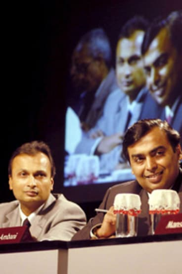 Mukesh Ambani, right, and his brother Anil... long-running dispute over gas price.