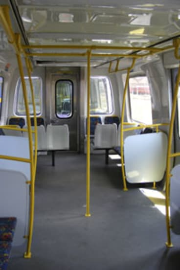 Connex train with seats removed to allow more standing room.