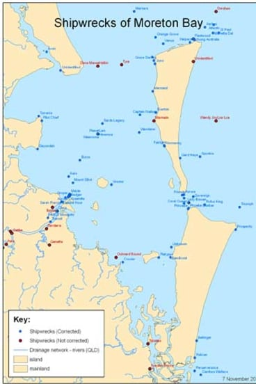 An overview of the many wrecks located in Moreton Bay.
