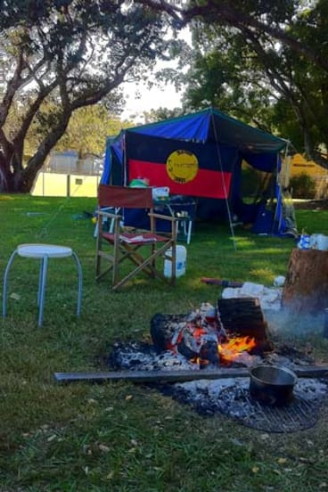 Protesters' new tent embassy in Musgrave Park.