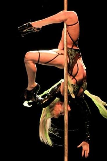 Round the twist ... pole dancer Foxy Minx. The NSW heats of Miss Pole Dance Australia are tonight.