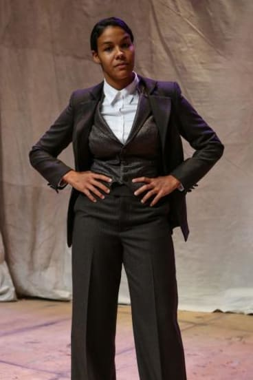 All suited up:  Zahra Newman in Bell Shakespeare's As You Like It.