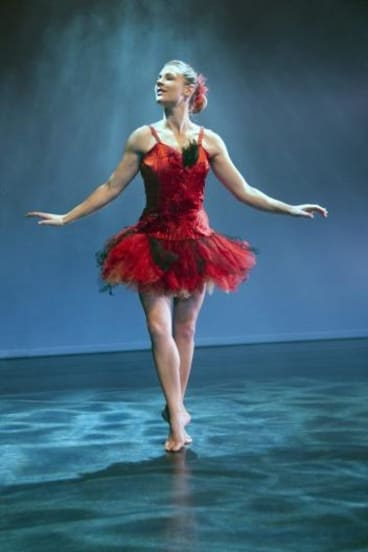 Miranda Wheen in the Firebird tutu once worn by Elizabeth Dalman . Photo: Barbie Robinson