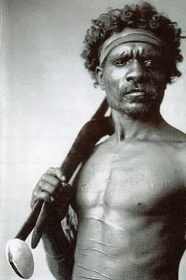 This image is commonly reputed to be Pemulwuy, an Aboriginal warrior, but it is, in fact, an unidentified North Queensland warrior photographed by Henry King in about 1900.