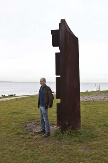 Jonathan Leahey with his sculpture at the Cyril Curtain Reserve in Williamstown, a collaboration with Mike Nicholls.