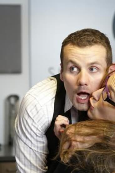 Fan favourite Toadie (Ryan Moloney, left, with Eve Morey as Sonya Mitchell).