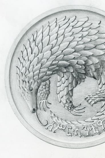 Stuart Devlin's rendering of a pangolin for Ethiopia's new coins in 1965.