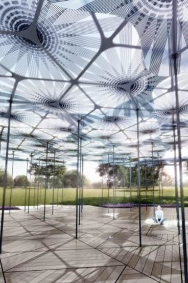 An artist's impresison of how Amanda Levete's MPavilion will look.