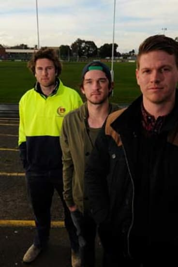 Retired hurt (from left): Jarryd Allen, Tom Hunter and Darcy Daniher back at Coburg City Oval, where they started with the Calder Cannons.