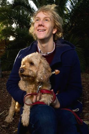 Home boy: Comedian Josh Thomas and his dog John.