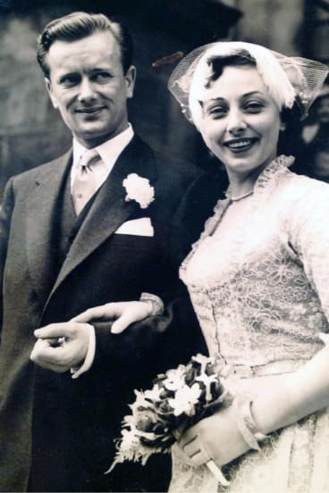 Jurek Grzmielewski and actress Joan Lord on their wedding day.