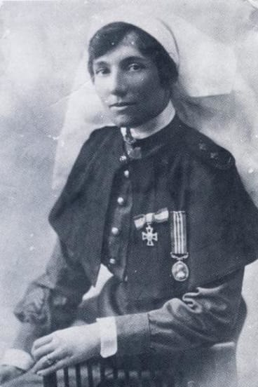 Alice Ross King, wearing her associate of the Royal Red Cross medal and the Military Medal, arrived in Cairo in 1915 with expectations of great adventure.