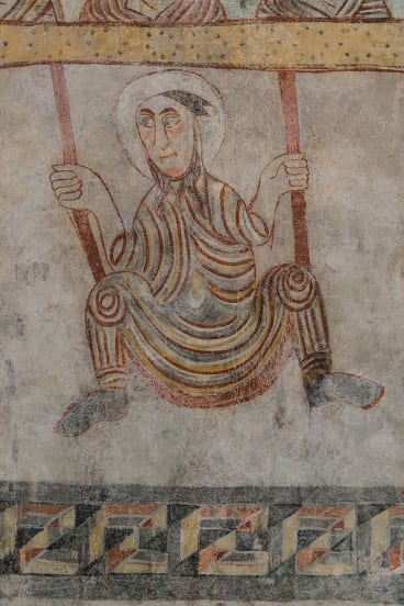 Fresco of St Proculus on a swing, 7th century, South Tyrol.