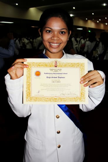 Sinet Chan on her college graduation day after being rescued from an abusive Cambodian orphanage.