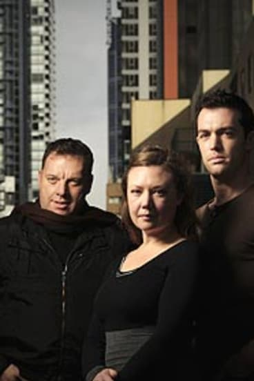Director of <i>Dying City</i> Matt Scholten, left, with actors Zoe Ellerton-Ashley and Brad Williams.