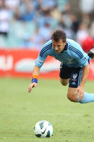 Bruising encounter ... Del Piero.