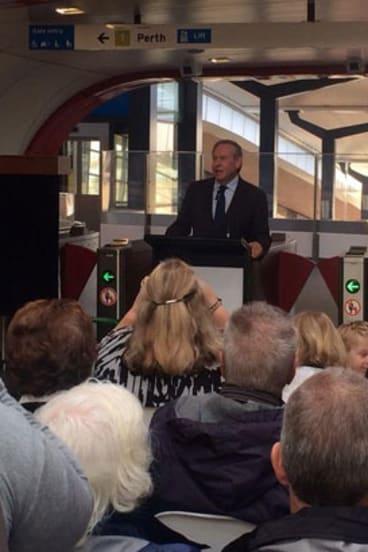 Premier Colin Barnett opens the Butler Train Station.