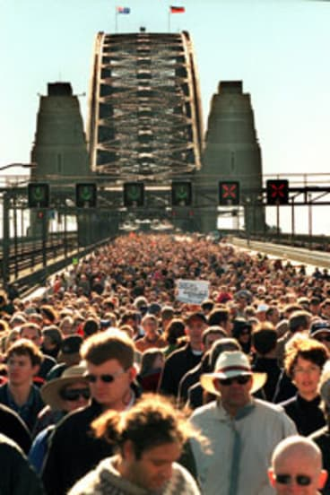 All together ... 300,000 march across the Harbour Bridge for Corroboree 2000.