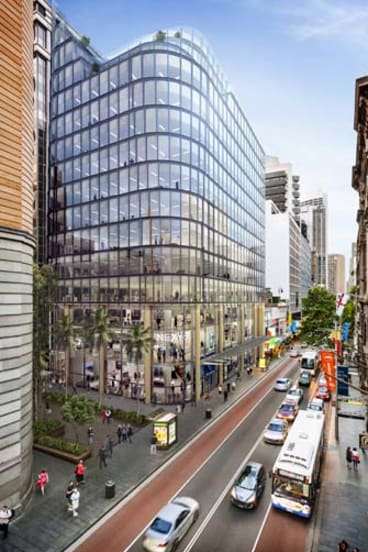 An artist's impression of the site at 333 George Street owned by the Charter Hall Group and being redeveloped by Watpac.
