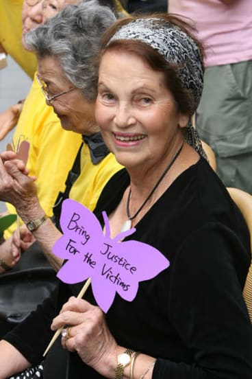 Jan Ruff-O'Herne takes part in a Justice for Comfort Women protest held in Martin Place outside the Japanese Consulate.