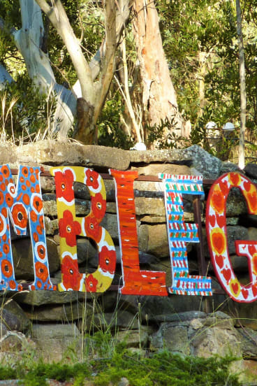 Where in the Snowies last week. Congratulations to Stewart Mackenzie of Murrumbateman, who identified part of the colourful entrance to the Bimblegumbie Mountain Retreat on Alpine Way at Crackenback.