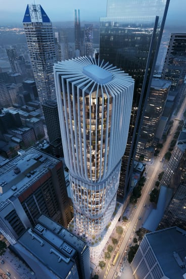 "The tiered filigree ""vase"" design for 600 Collins Street by Zaha Hadid Architects."