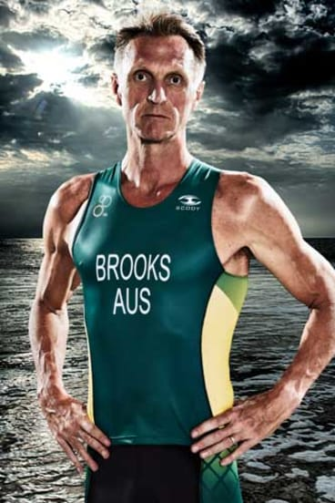 Neil Brooks in Australian colours for a triathlon.