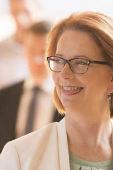 Prime Minister Julia Gillard enters a meeting with NT Chief Minister Adam Giles.